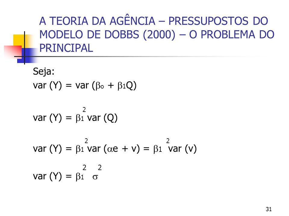 31 A TEORIA DA AGÊNCIA – PRESSUPOSTOS DO MODELO DE DOBBS (2000) – O PROBLEMA DO PRINCIPAL Seja: var (Y) = var ( o + 1 Q) 2 var (Y) = 1 var (Q) 2 2 var