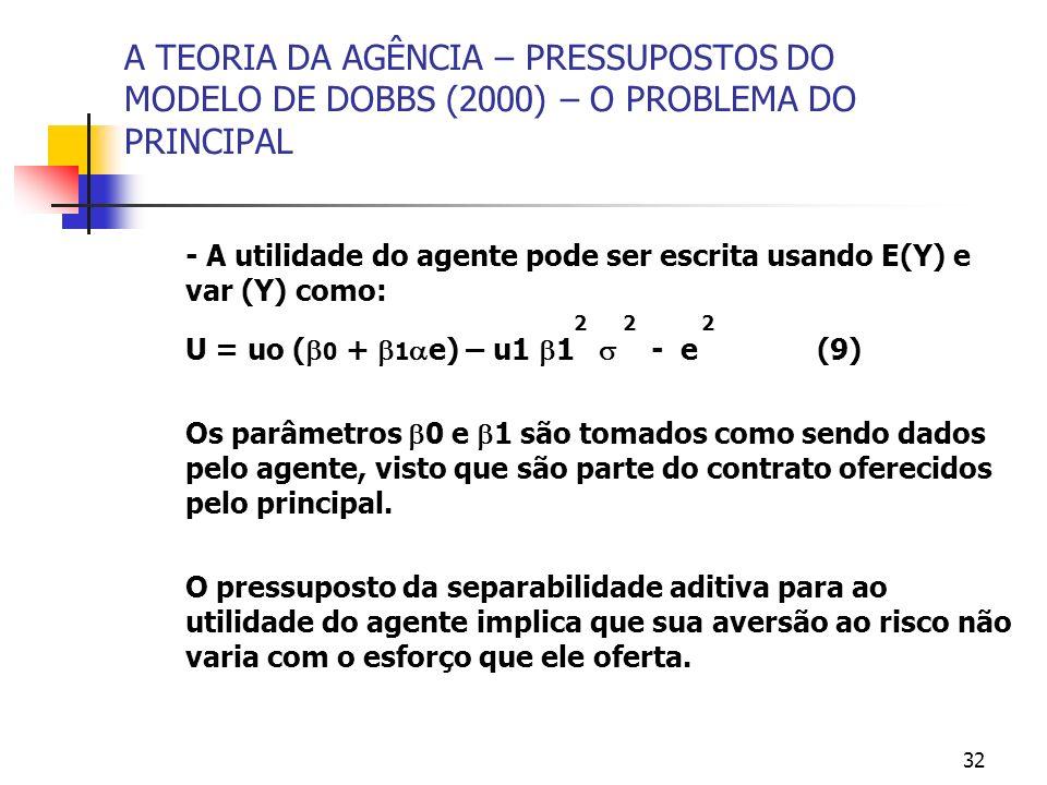 32 A TEORIA DA AGÊNCIA – PRESSUPOSTOS DO MODELO DE DOBBS (2000) – O PROBLEMA DO PRINCIPAL - A utilidade do agente pode ser escrita usando E(Y) e var (