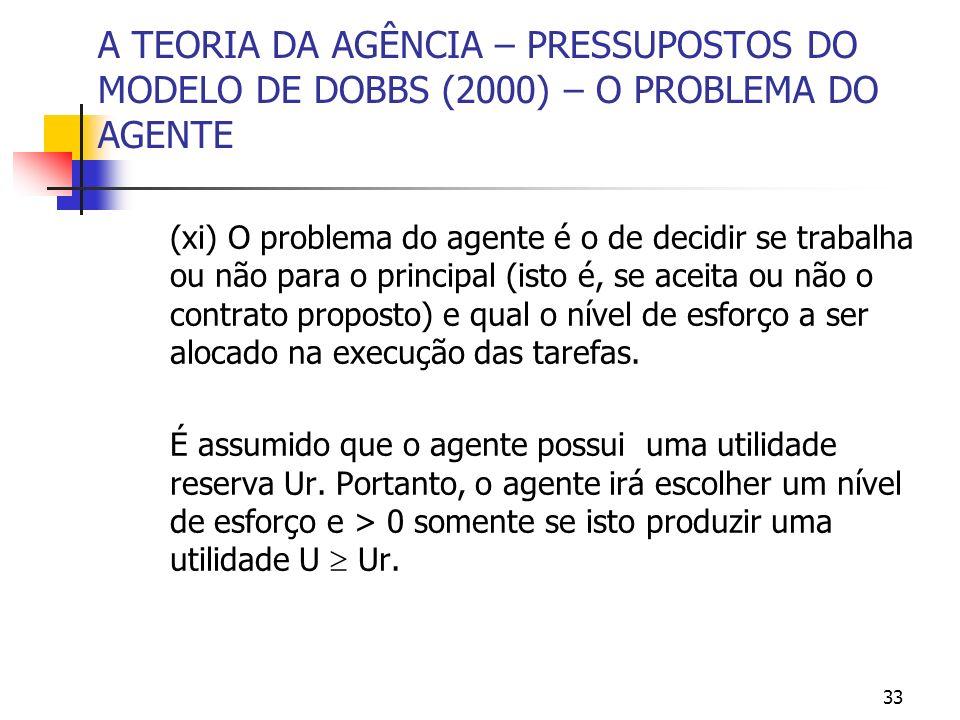 33 A TEORIA DA AGÊNCIA – PRESSUPOSTOS DO MODELO DE DOBBS (2000) – O PROBLEMA DO AGENTE (xi) O problema do agente é o de decidir se trabalha ou não par