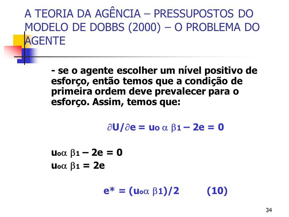 34 A TEORIA DA AGÊNCIA – PRESSUPOSTOS DO MODELO DE DOBBS (2000) – O PROBLEMA DO AGENTE - se o agente escolher um nível positivo de esforço, então temo