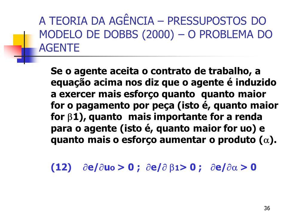 36 A TEORIA DA AGÊNCIA – PRESSUPOSTOS DO MODELO DE DOBBS (2000) – O PROBLEMA DO AGENTE Se o agente aceita o contrato de trabalho, a equação acima nos