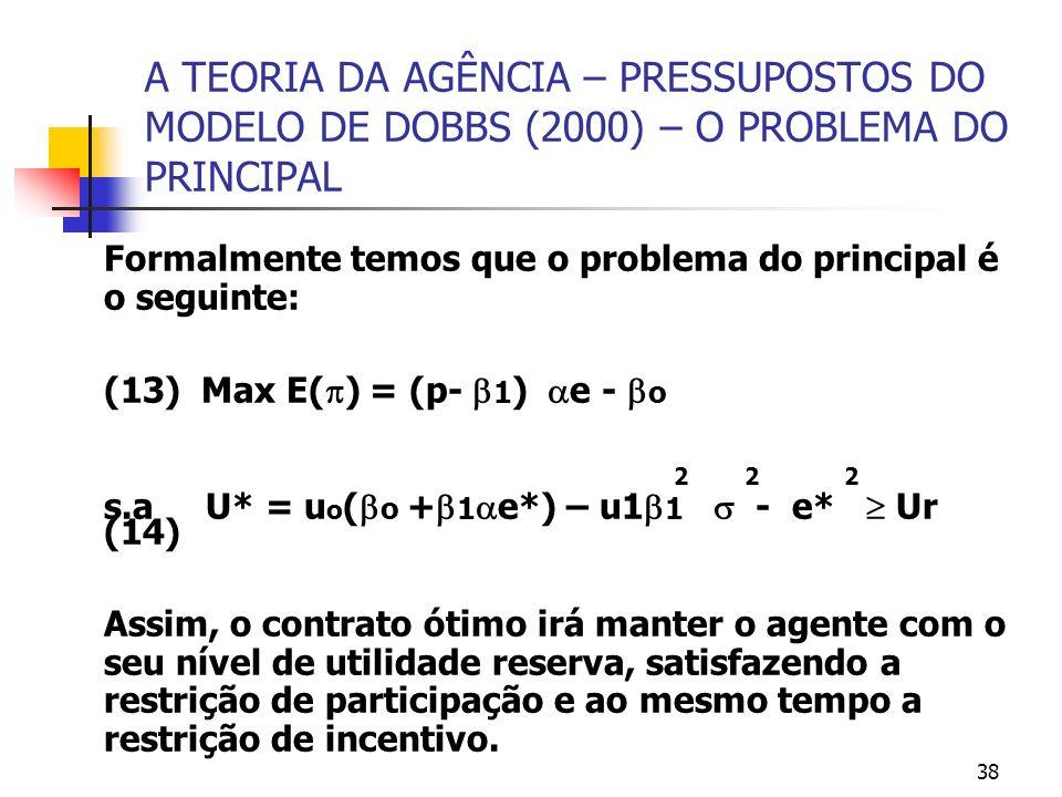 38 A TEORIA DA AGÊNCIA – PRESSUPOSTOS DO MODELO DE DOBBS (2000) – O PROBLEMA DO PRINCIPAL Formalmente temos que o problema do principal é o seguinte: