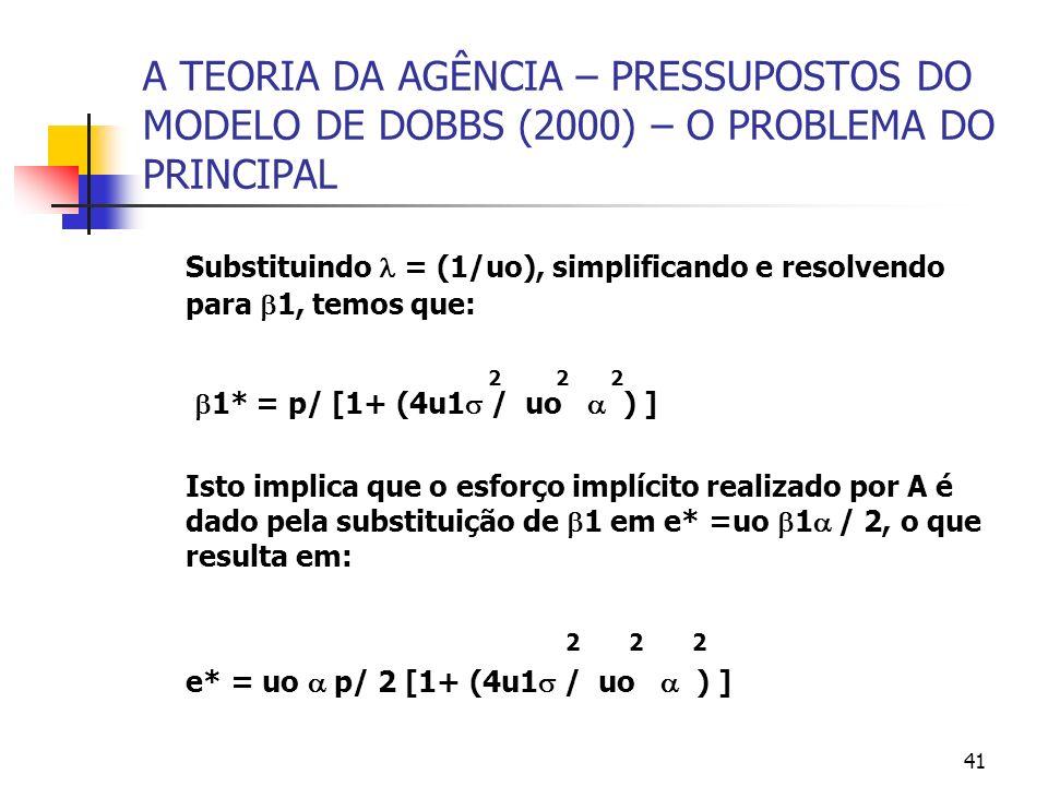 41 A TEORIA DA AGÊNCIA – PRESSUPOSTOS DO MODELO DE DOBBS (2000) – O PROBLEMA DO PRINCIPAL Substituindo = (1/uo), simplificando e resolvendo para 1, te