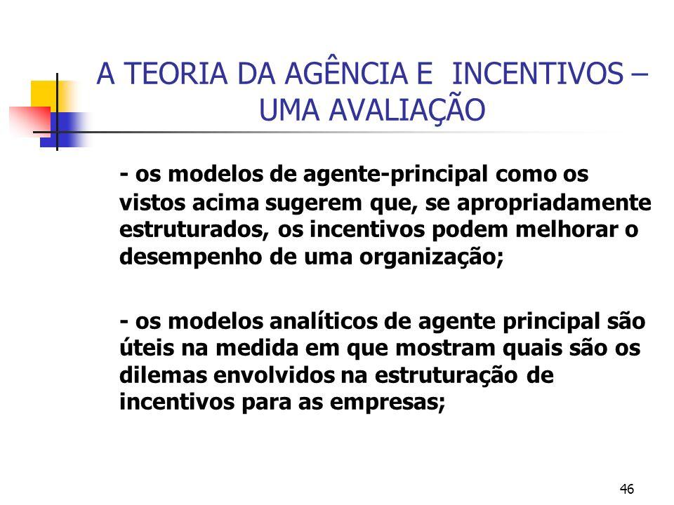46 A TEORIA DA AGÊNCIA E INCENTIVOS – UMA AVALIAÇÃO - os modelos de agente-principal como os vistos acima sugerem que, se apropriadamente estruturados