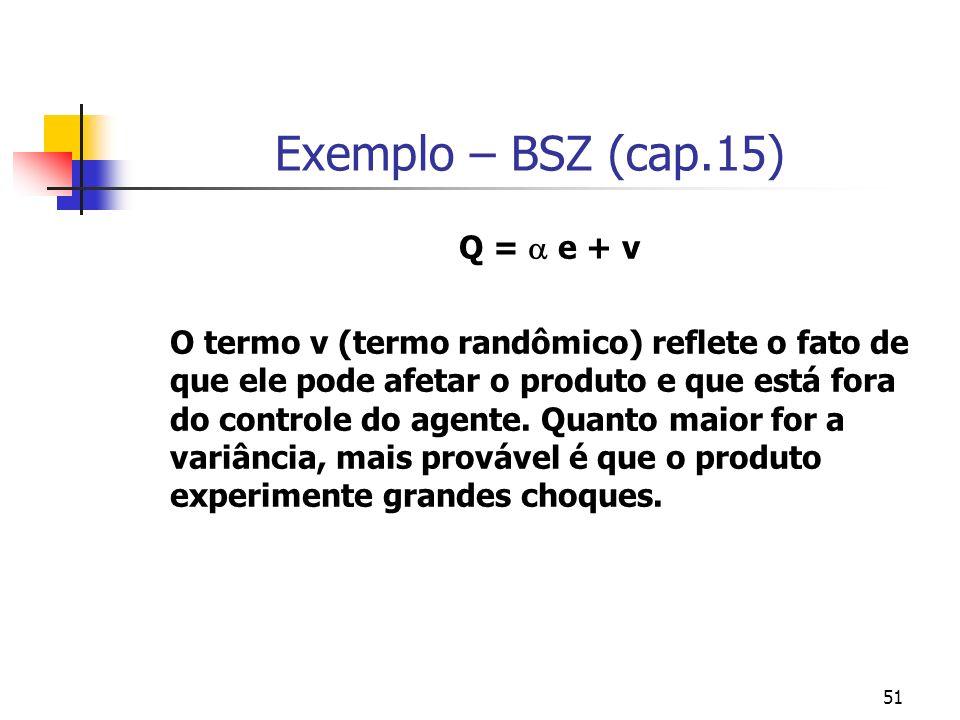 51 Exemplo – BSZ (cap.15) Q = e + v O termo v (termo randômico) reflete o fato de que ele pode afetar o produto e que está fora do controle do agente.