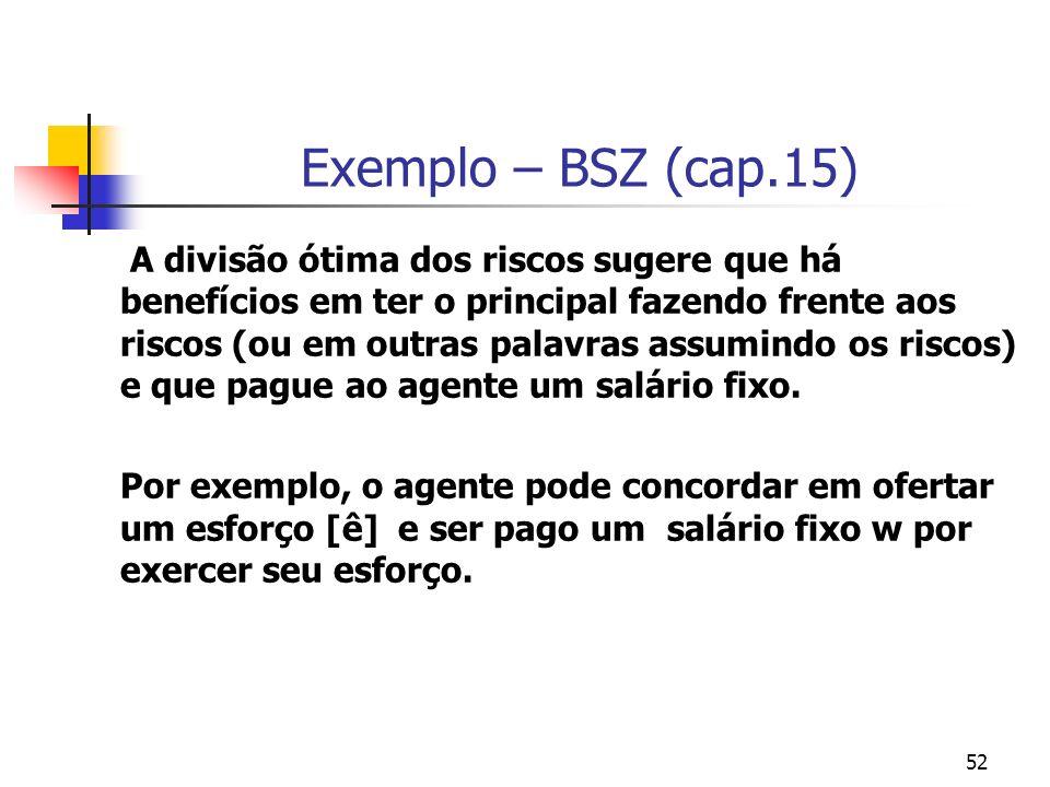 52 Exemplo – BSZ (cap.15) A divisão ótima dos riscos sugere que há benefícios em ter o principal fazendo frente aos riscos (ou em outras palavras assu