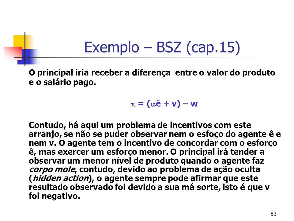 53 Exemplo – BSZ (cap.15) O principal iria receber a diferença entre o valor do produto e o salário pago. = ( ê + v) – w Contudo, há aqui um problema