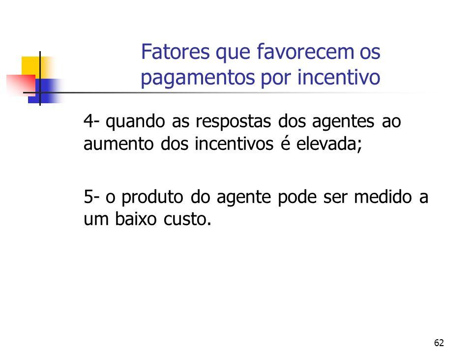 62 Fatores que favorecem os pagamentos por incentivo 4- quando as respostas dos agentes ao aumento dos incentivos é elevada; 5- o produto do agente po