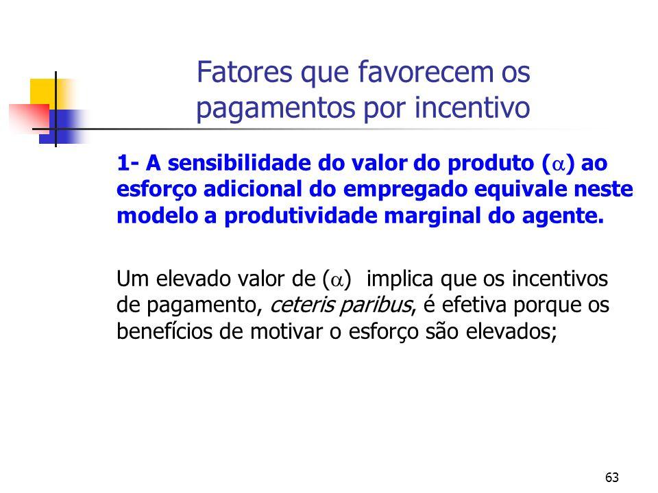 63 Fatores que favorecem os pagamentos por incentivo 1- A sensibilidade do valor do produto ( ) ao esforço adicional do empregado equivale neste model