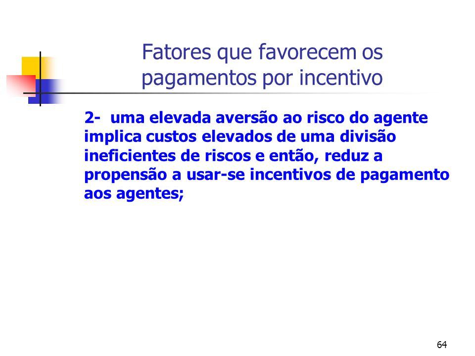 64 Fatores que favorecem os pagamentos por incentivo 2- uma elevada aversão ao risco do agente implica custos elevados de uma divisão ineficientes de