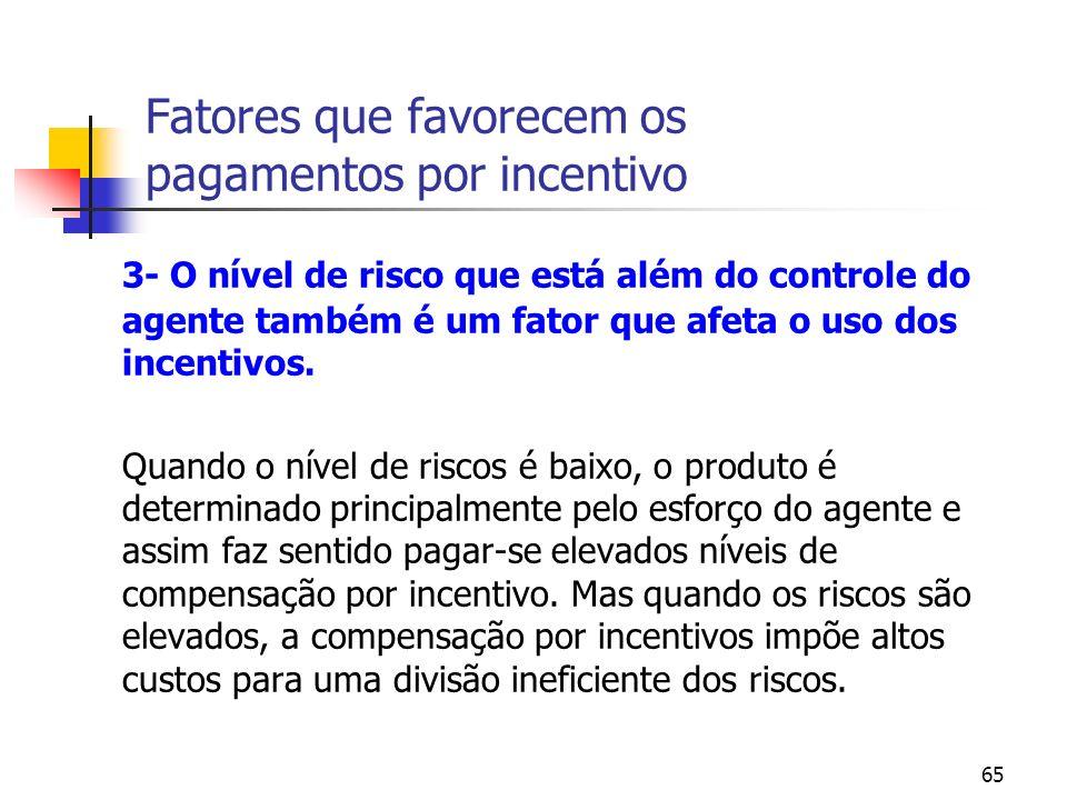 65 Fatores que favorecem os pagamentos por incentivo 3- O nível de risco que está além do controle do agente também é um fator que afeta o uso dos inc