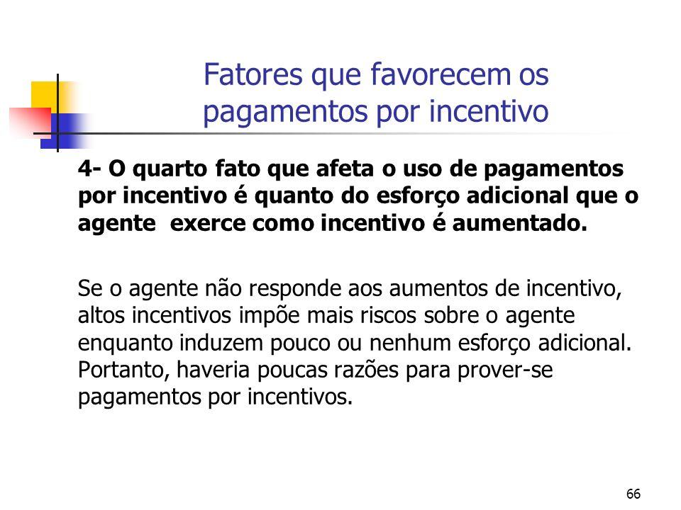 66 Fatores que favorecem os pagamentos por incentivo 4- O quarto fato que afeta o uso de pagamentos por incentivo é quanto do esforço adicional que o