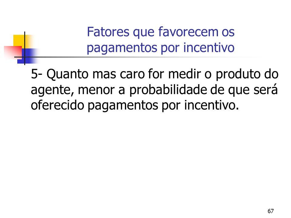 67 Fatores que favorecem os pagamentos por incentivo 5- Quanto mas caro for medir o produto do agente, menor a probabilidade de que será oferecido pag