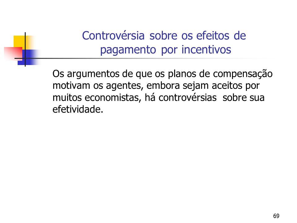 69 Controvérsia sobre os efeitos de pagamento por incentivos Os argumentos de que os planos de compensação motivam os agentes, embora sejam aceitos po