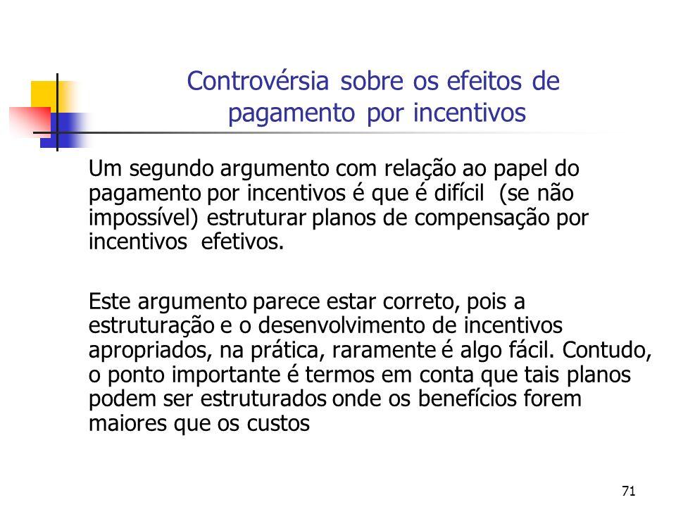 71 Controvérsia sobre os efeitos de pagamento por incentivos Um segundo argumento com relação ao papel do pagamento por incentivos é que é difícil (se