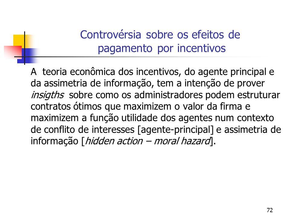 72 Controvérsia sobre os efeitos de pagamento por incentivos A teoria econômica dos incentivos, do agente principal e da assimetria de informação, tem