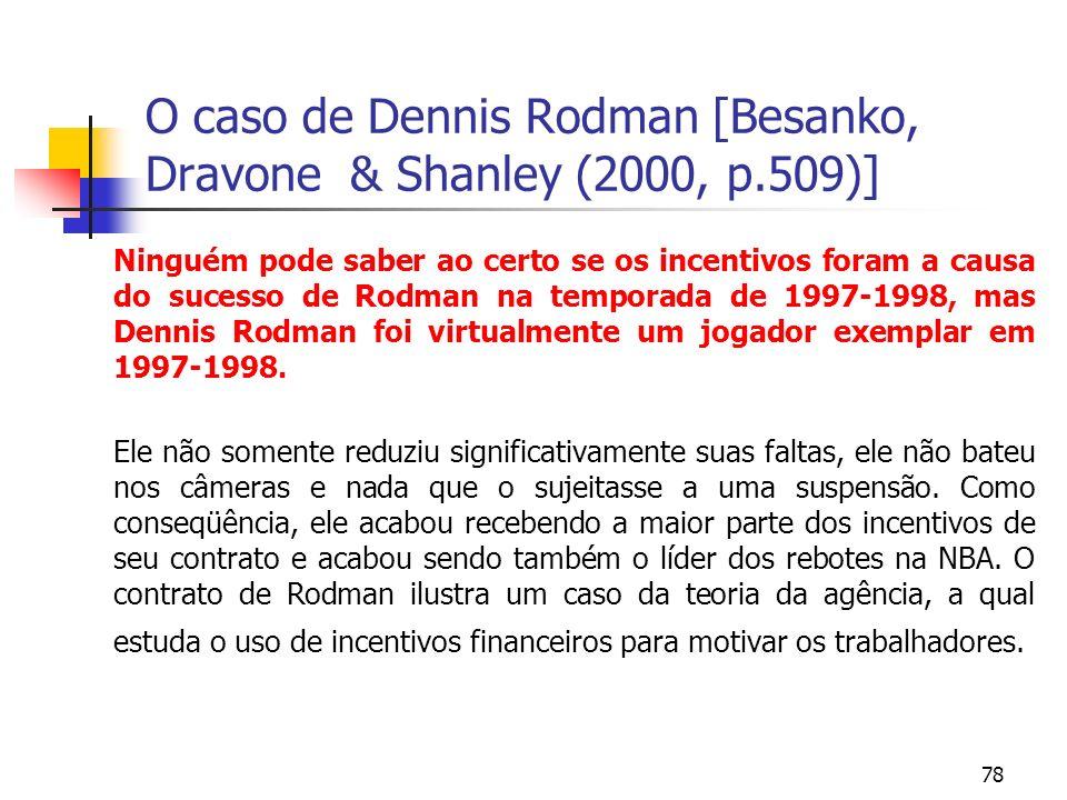 78 O caso de Dennis Rodman [Besanko, Dravone & Shanley (2000, p.509)] Ninguém pode saber ao certo se os incentivos foram a causa do sucesso de Rodman