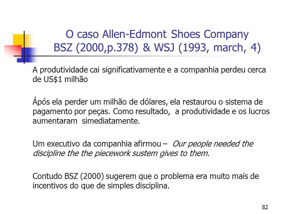 82 O caso Allen-Edmont Shoes Company BSZ (2000,p.378) & WSJ (1993, march, 4) A produtividade cai significativamente e a companhia perdeu cerca de US$1