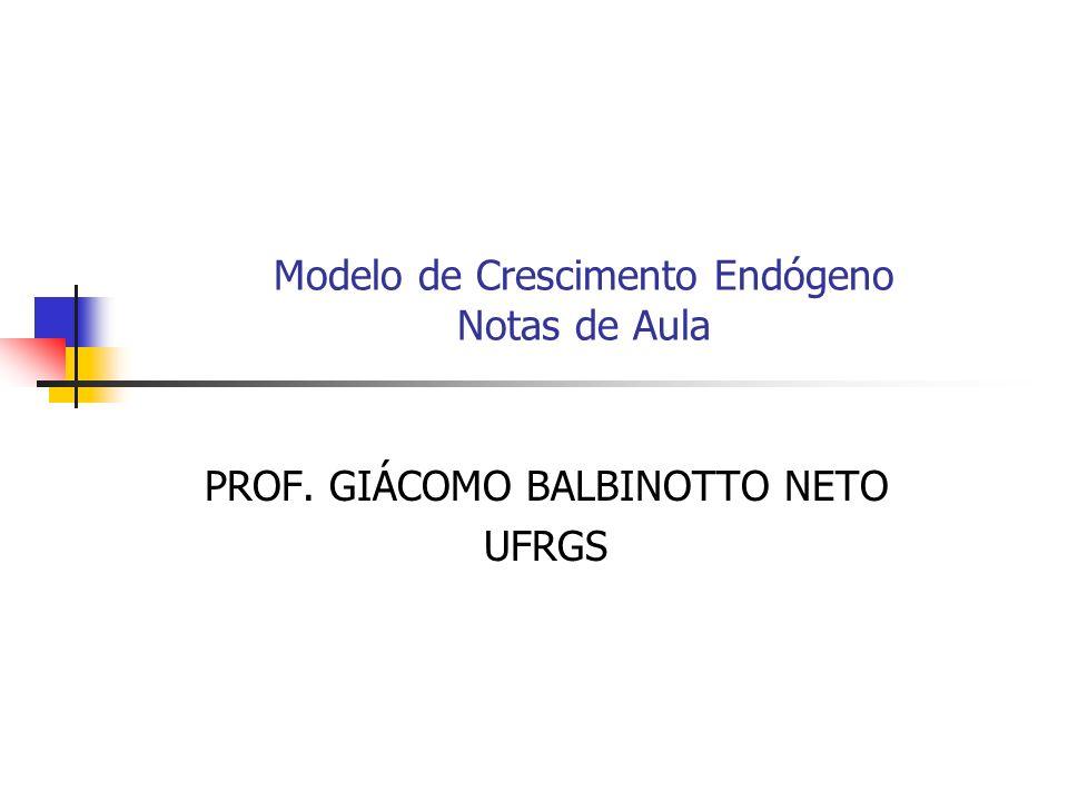 Modelo de Crescimento Endógeno Notas de Aula PROF. GIÁCOMO BALBINOTTO NETO UFRGS