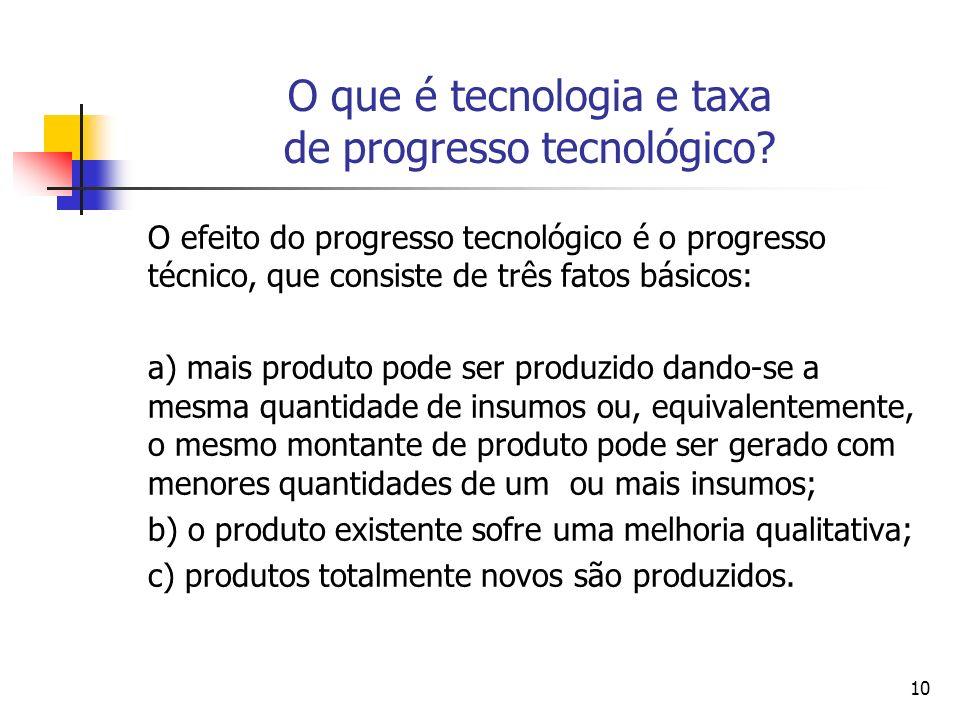 10 O que é tecnologia e taxa de progresso tecnológico? O efeito do progresso tecnológico é o progresso técnico, que consiste de três fatos básicos: a)