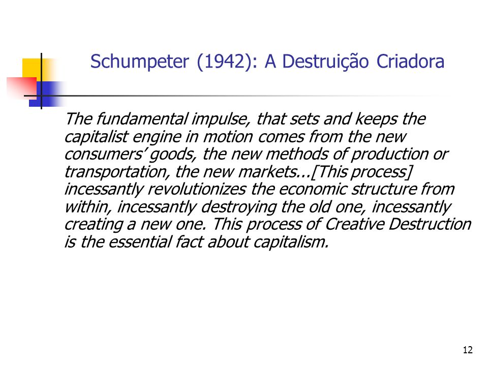 12 Schumpeter (1942): A Destruição Criadora The fundamental impulse, that sets and keeps the capitalist engine in motion comes from the new consumers