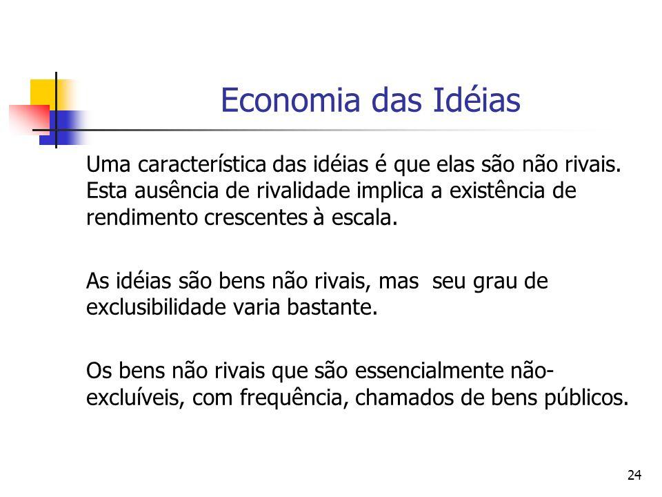 24 Economia das Idéias Uma característica das idéias é que elas são não rivais. Esta ausência de rivalidade implica a existência de rendimento crescen