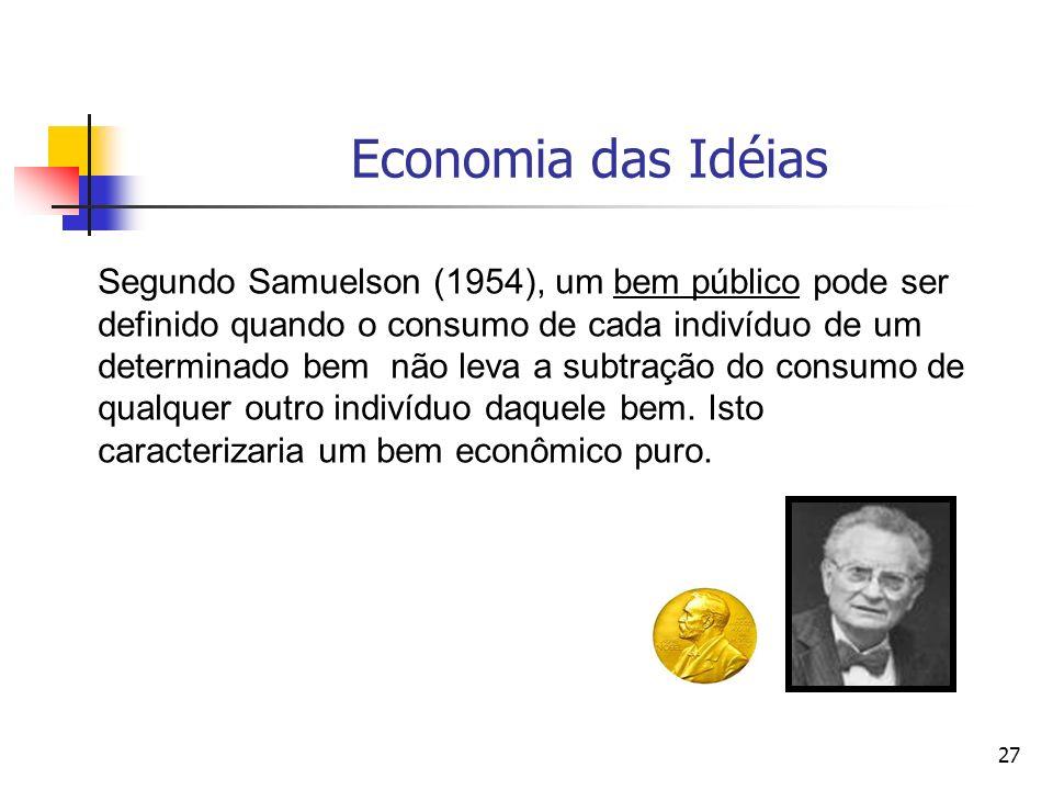 27 Economia das Idéias Segundo Samuelson (1954), um bem público pode ser definido quando o consumo de cada indivíduo de um determinado bem não leva a