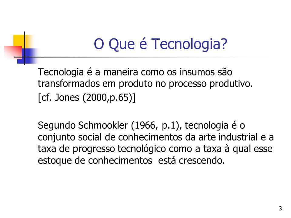 3 O Que é Tecnologia? Tecnologia é a maneira como os insumos são transformados em produto no processo produtivo. [cf. Jones (2000,p.65)] Segundo Schmo