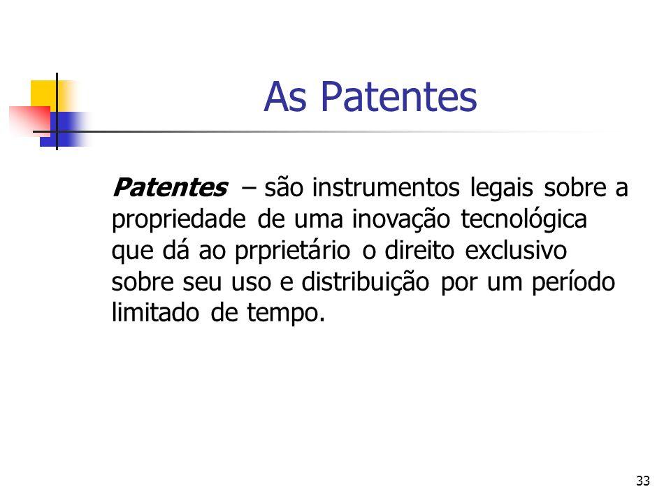 33 As Patentes Patentes – são instrumentos legais sobre a propriedade de uma inovação tecnológica que dá ao prprietário o direito exclusivo sobre seu