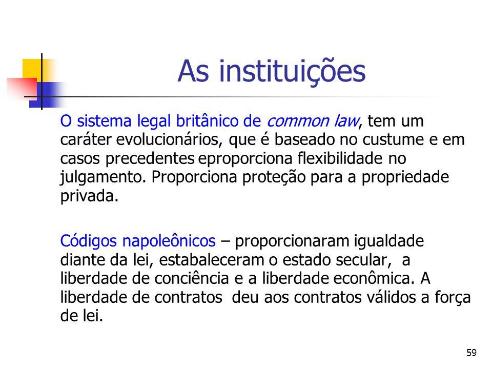 59 As instituições O sistema legal britânico de common law, tem um caráter evolucionários, que é baseado no custume e em casos precedentes eproporcion