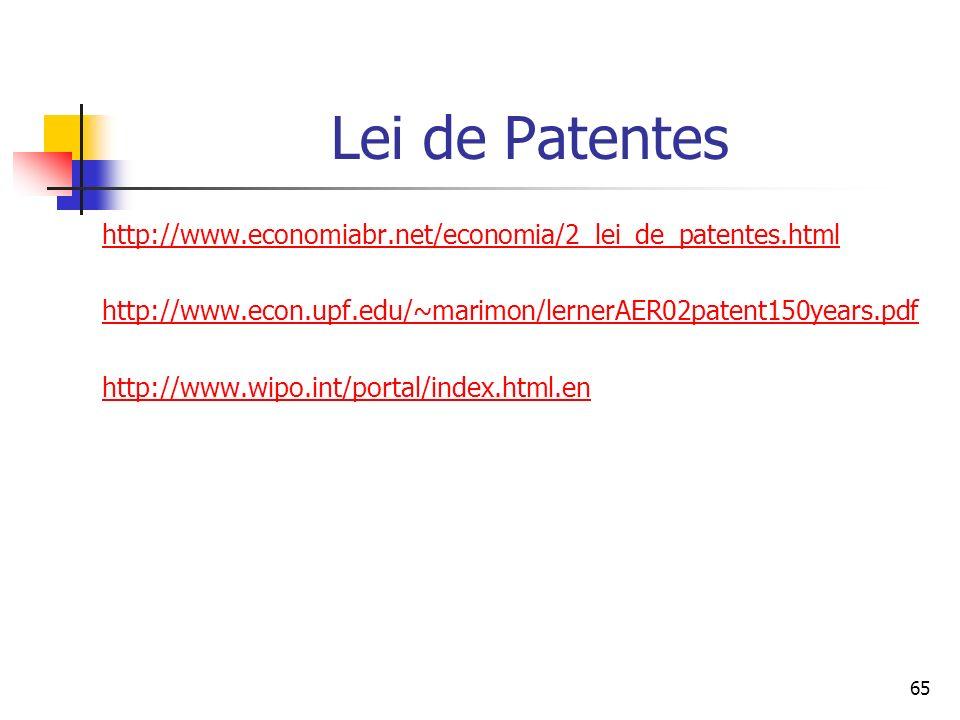 65 Lei de Patentes http://www.economiabr.net/economia/2_lei_de_patentes.html http://www.econ.upf.edu/~marimon/lernerAER02patent150years.pdf http://www