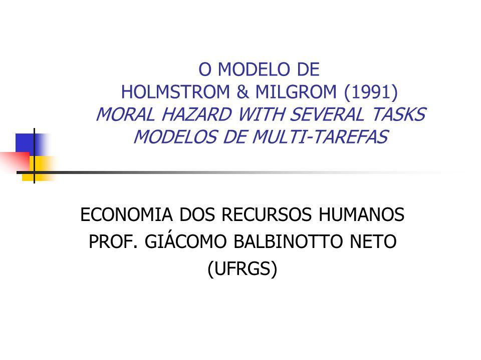 22 O Modelo de H & M (1991) e o tipo de tarefas executadas pelo agente Quando as tarefas são complementares na função custo do esforço do agente, o principal está interessado em motivar a tarefa 1, visto que deste modo ele irá, simultaneamente motivar o agente a trabalhar na tarefa 2.