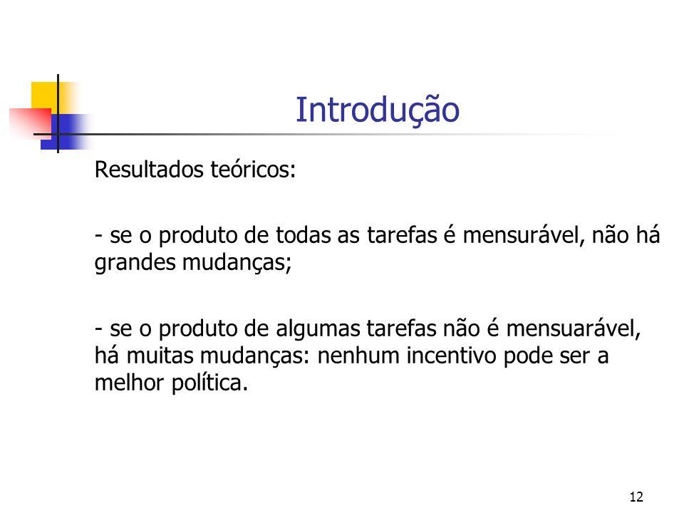 12 Introdução Resultados teóricos: - se o produto de todas as tarefas é mensurável, não há grandes mudanças; - se o produto de algumas tarefas não é mensuarável, há muitas mudanças: nenhum incentivo pode ser a melhor política.