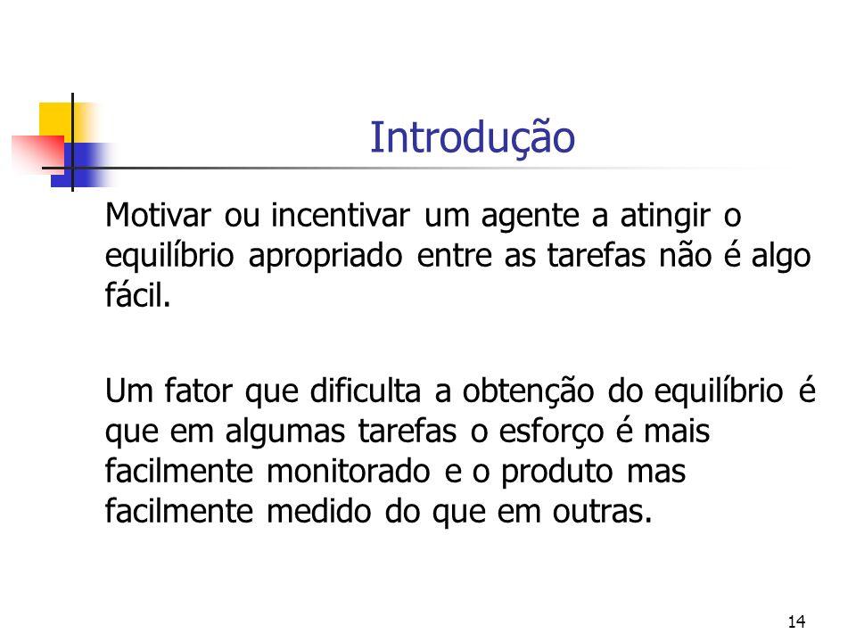 14 Introdução Motivar ou incentivar um agente a atingir o equilíbrio apropriado entre as tarefas não é algo fácil.