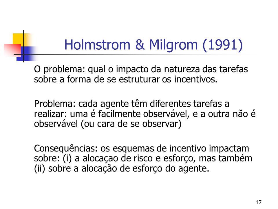 17 Holmstrom & Milgrom (1991) O problema: qual o impacto da natureza das tarefas sobre a forma de se estruturar os incentivos.