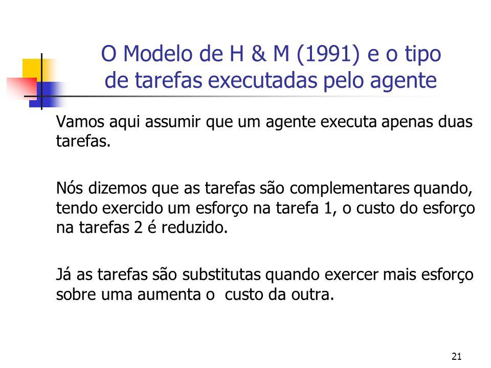 21 O Modelo de H & M (1991) e o tipo de tarefas executadas pelo agente Vamos aqui assumir que um agente executa apenas duas tarefas.