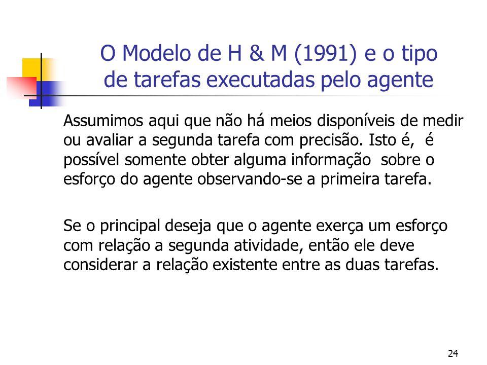 24 O Modelo de H & M (1991) e o tipo de tarefas executadas pelo agente Assumimos aqui que não há meios disponíveis de medir ou avaliar a segunda tarefa com precisão.