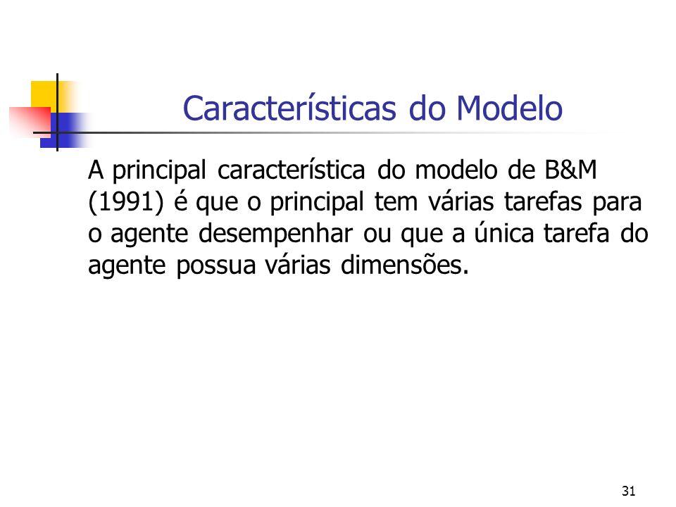 31 Características do Modelo A principal característica do modelo de B&M (1991) é que o principal tem várias tarefas para o agente desempenhar ou que a única tarefa do agente possua várias dimensões.
