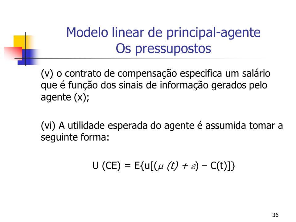 36 Modelo linear de principal-agente Os pressupostos (v) o contrato de compensação especifica um salário que é função dos sinais de informação gerados pelo agente (x); (vi) A utilidade esperada do agente é assumida tomar a seguinte forma: U (CE) = E{u[( (t) + ) – C(t)]}