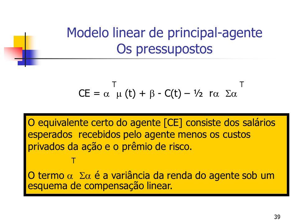 39 Modelo linear de principal-agente Os pressupostos T T CE = (t) + - C(t) – ½ r O equivalente certo do agente [CE] consiste dos salários esperados recebidos pelo agente menos os custos privados da ação e o prêmio de risco.