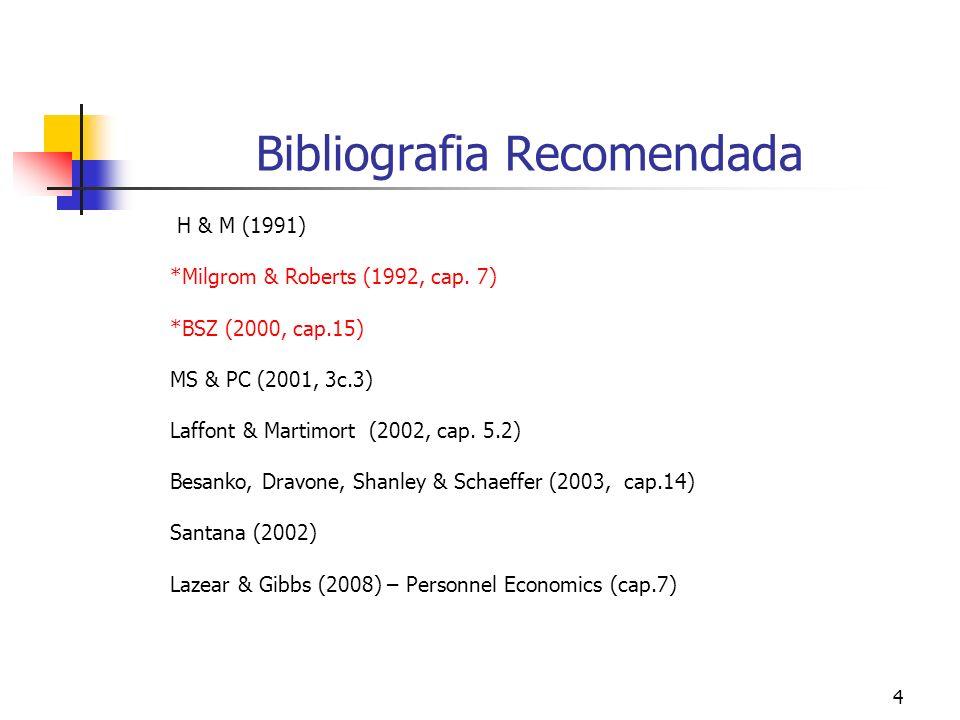 4 Bibliografia Recomendada H & M (1991) *Milgrom & Roberts (1992, cap.