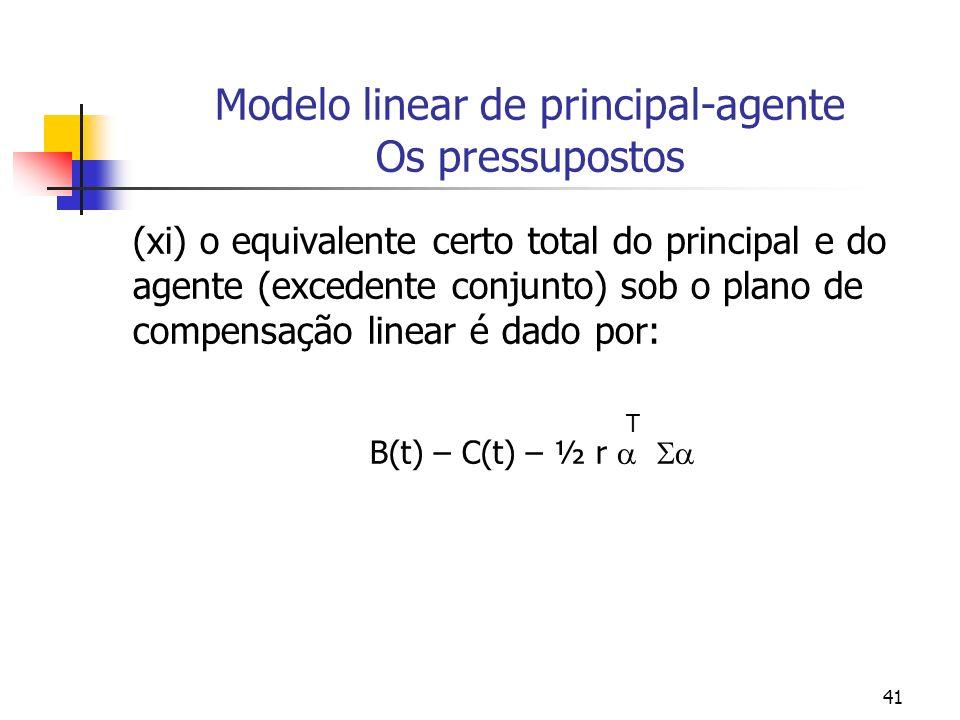 41 Modelo linear de principal-agente Os pressupostos (xi) o equivalente certo total do principal e do agente (excedente conjunto) sob o plano de compensação linear é dado por: T B(t) – C(t) – ½ r