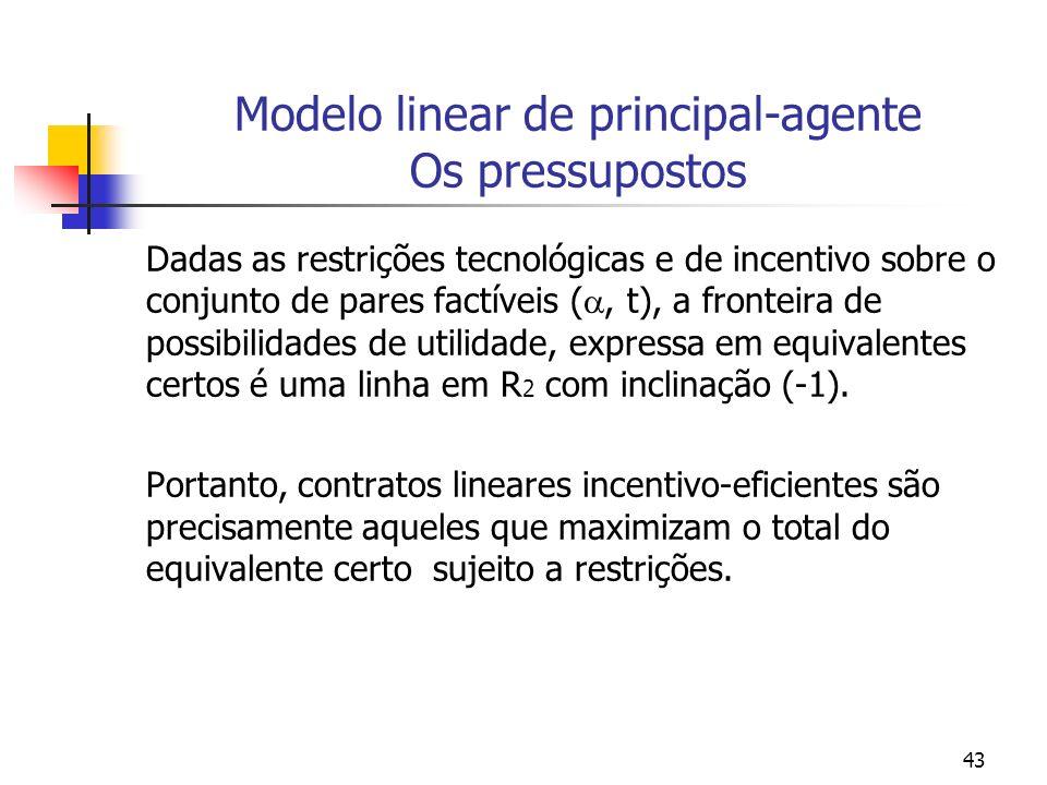 43 Modelo linear de principal-agente Os pressupostos Dadas as restrições tecnológicas e de incentivo sobre o conjunto de pares factíveis (, t), a fronteira de possibilidades de utilidade, expressa em equivalentes certos é uma linha em R 2 com inclinação (-1).
