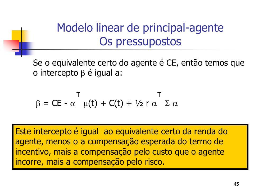 45 Modelo linear de principal-agente Os pressupostos Se o equivalente certo do agente é CE, então temos que o intercepto é igual a: T T = CE - (t) + C(t) + ½ r Este intercepto é igual ao equivalente certo da renda do agente, menos o a compensação esperada do termo de incentivo, mais a compensação pelo custo que o agente incorre, mais a compensação pelo risco.