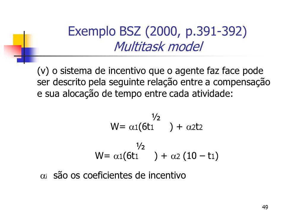 49 Exemplo BSZ (2000, p.391-392) Multitask model (v) o sistema de incentivo que o agente faz face pode ser descrito pela seguinte relação entre a compensação e sua alocação de tempo entre cada atividade: ½ W= 1 (6t 1 ) + 2 t 2 ½ W= 1 (6t 1 ) + 2 (10 – t 1 ) i são os coeficientes de incentivo