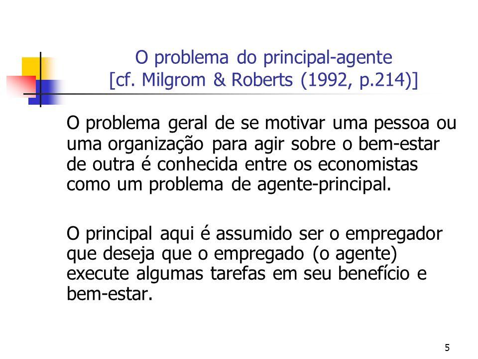 46 Modelo linear de principal-agente A característica central do modelo Uma das características centrais do modelo desenvolvido por H & M (1991) refere-se ao modo pelo qual é permitido que os variáveis observáveis entrem no modelo.
