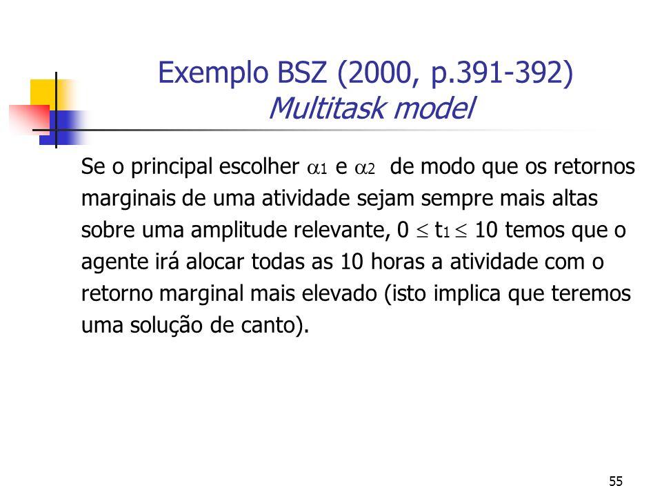 55 Exemplo BSZ (2000, p.391-392) Multitask model Se o principal escolher 1 e 2 de modo que os retornos marginais de uma atividade sejam sempre mais altas sobre uma amplitude relevante, 0 t 1 10 temos que o agente irá alocar todas as 10 horas a atividade com o retorno marginal mais elevado (isto implica que teremos uma solução de canto).