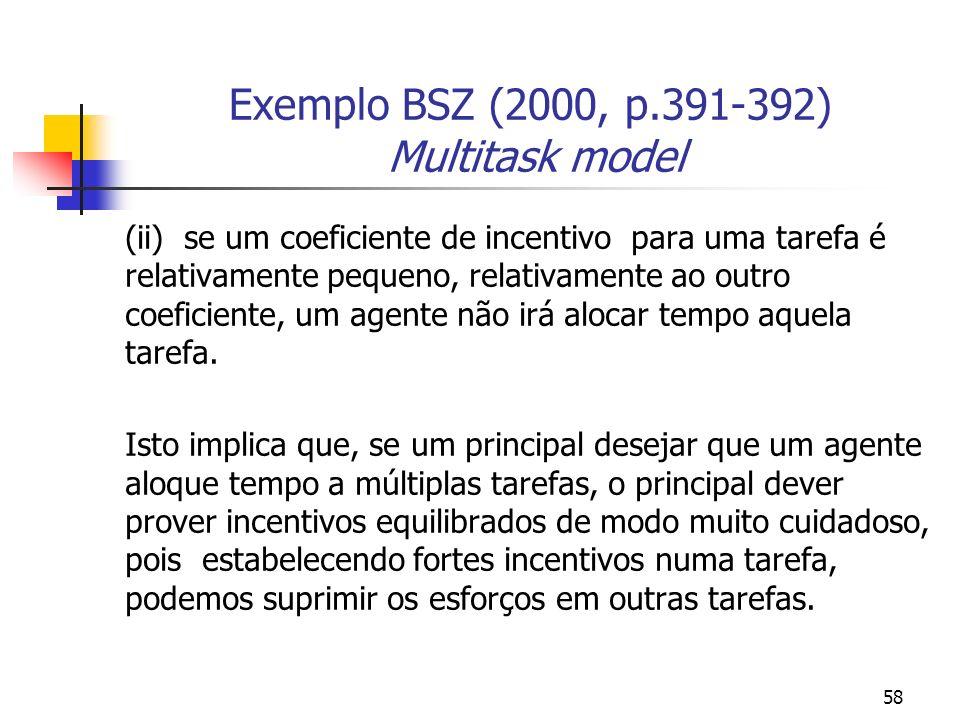 58 Exemplo BSZ (2000, p.391-392) Multitask model (ii) se um coeficiente de incentivo para uma tarefa é relativamente pequeno, relativamente ao outro coeficiente, um agente não irá alocar tempo aquela tarefa.