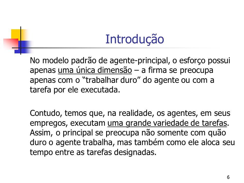 57 Exemplo BSZ (2000, p.391-392) Multitask model (i) um principal pode motivar um agente a alocar mais tempo a uma tarefa de dois modos: (1) o principal pode aumentar os coeficientes de incentivo para a tarefa a ser executada; (2) o principal pode reduzir os coeficientes de incentivos para a tarefa alternativa;