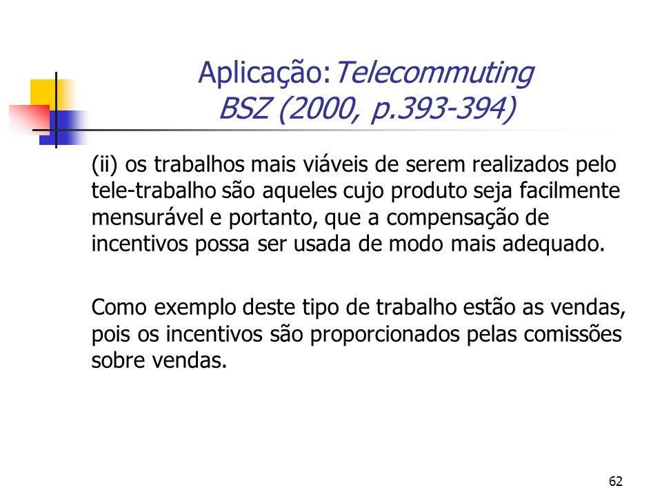 62 Aplicação:Telecommuting BSZ (2000, p.393-394) (ii) os trabalhos mais viáveis de serem realizados pelo tele-trabalho são aqueles cujo produto seja facilmente mensurável e portanto, que a compensação de incentivos possa ser usada de modo mais adequado.